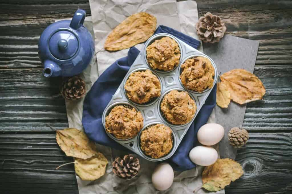 muffin tin with gluten free banana muffins