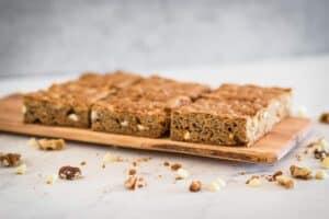 serving board with gluten free white chocolate blondies