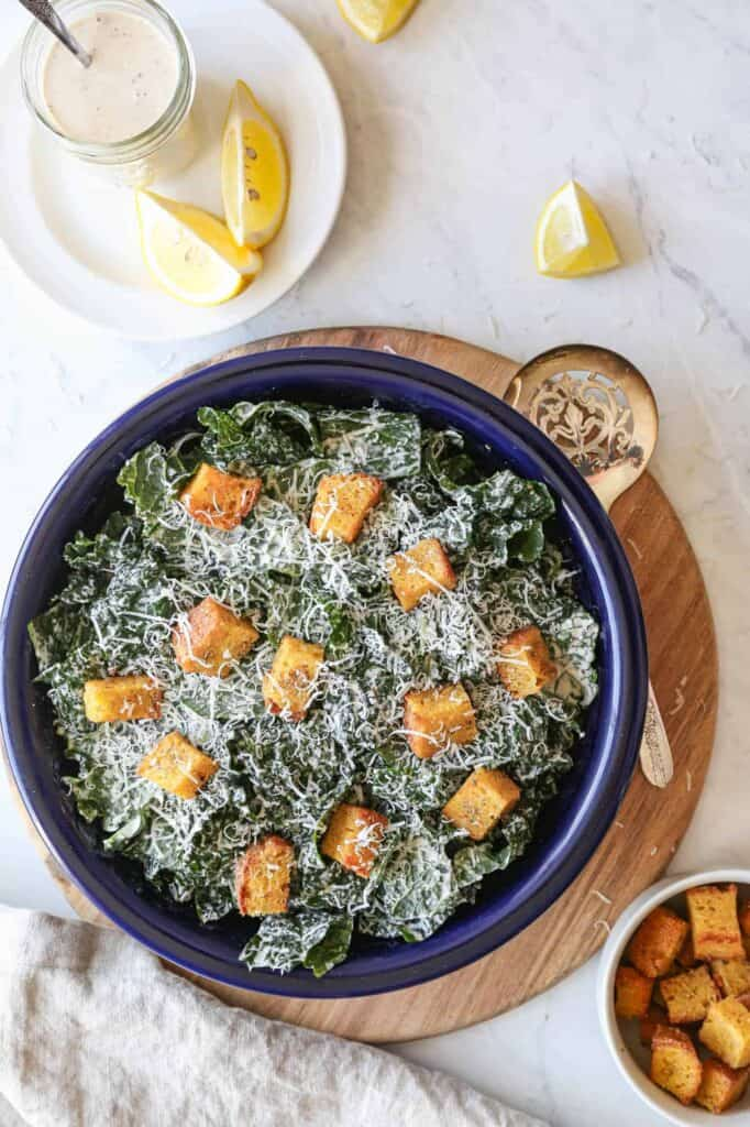 a favorite thing at our house is this gluten free kale caesar salad