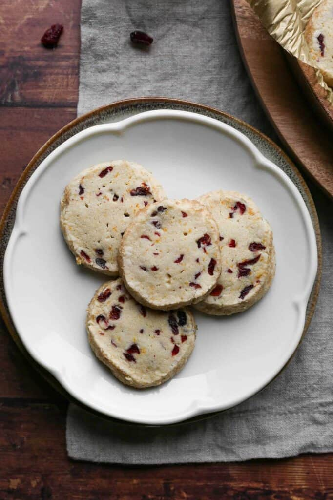 a plate of gluten free orange cranberry cookies