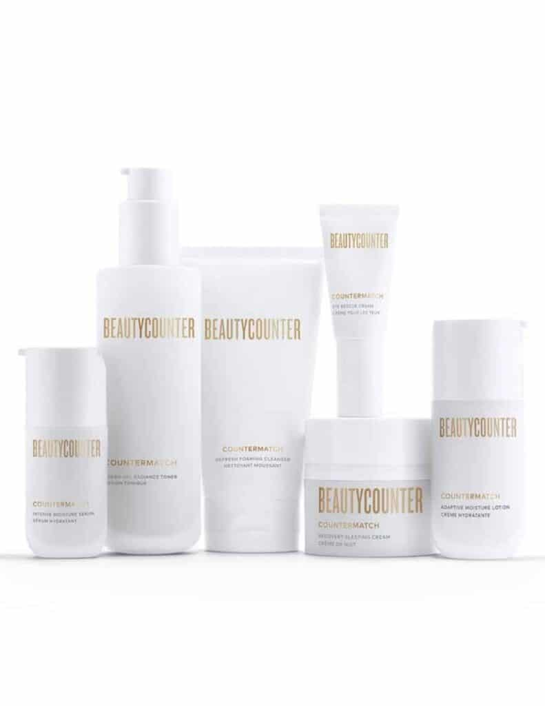 the bottles and containers from the Beautycounter Countermatch skin care regimen