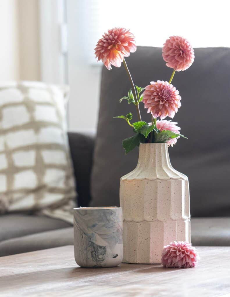 one of my favorite things is a vase of dahlias on my coffee table
