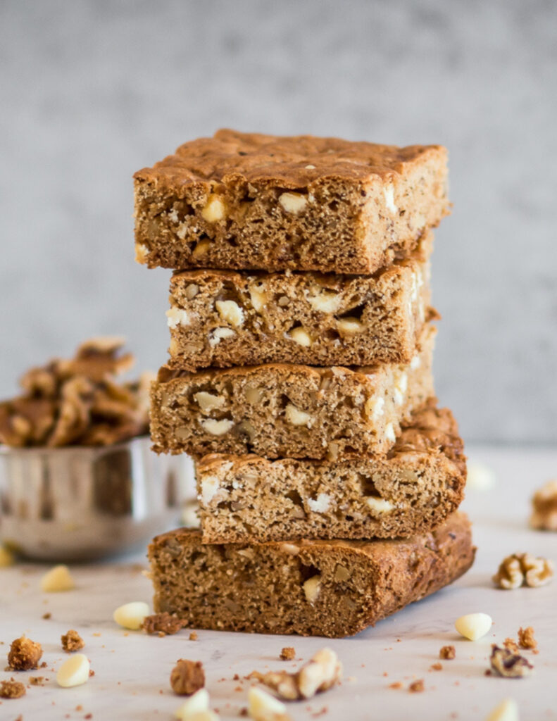 one of my favorite gluten free fall recipes are these gluten free white chocolate blondies